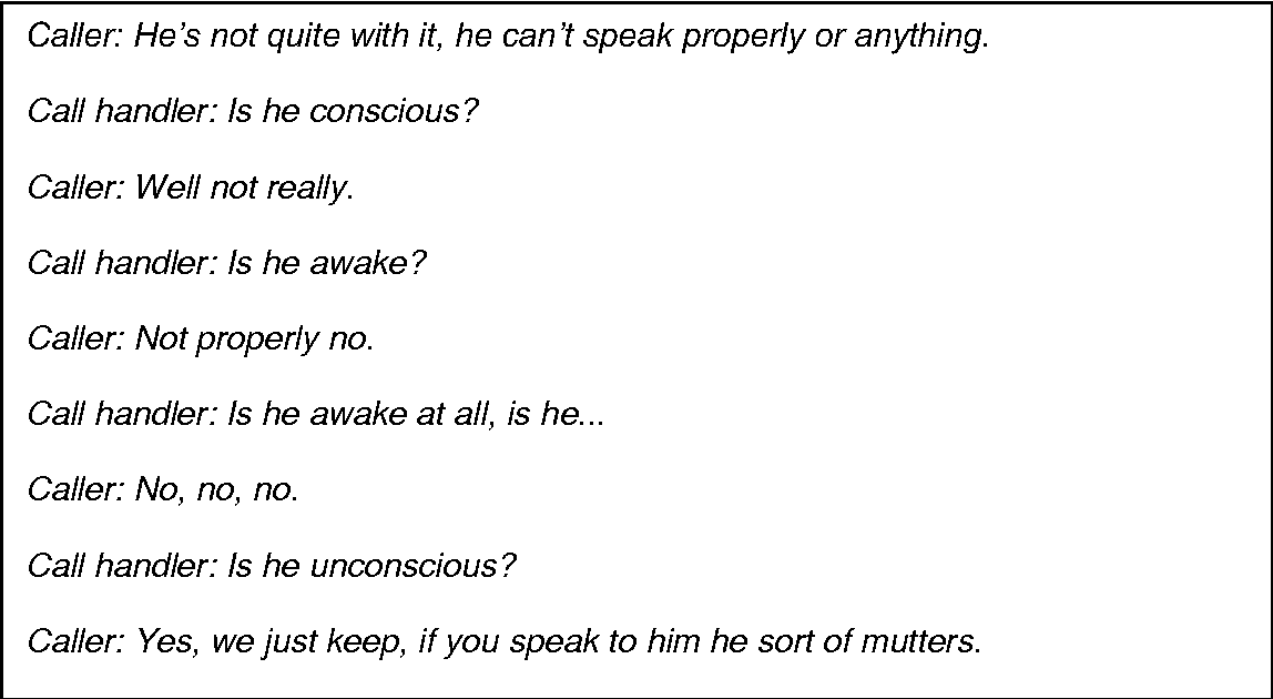 Table 2 from 'Is he awake?': dialogues between callers and