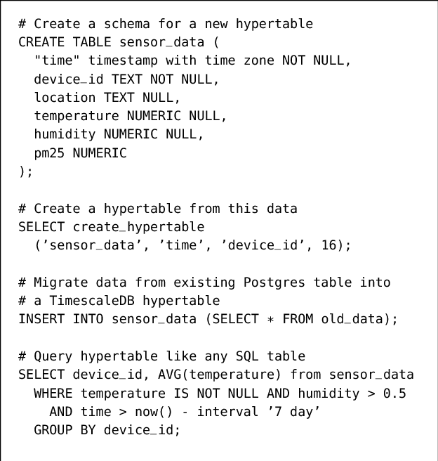 Figure 2 from TimescaleDB : SQL made scalable for time