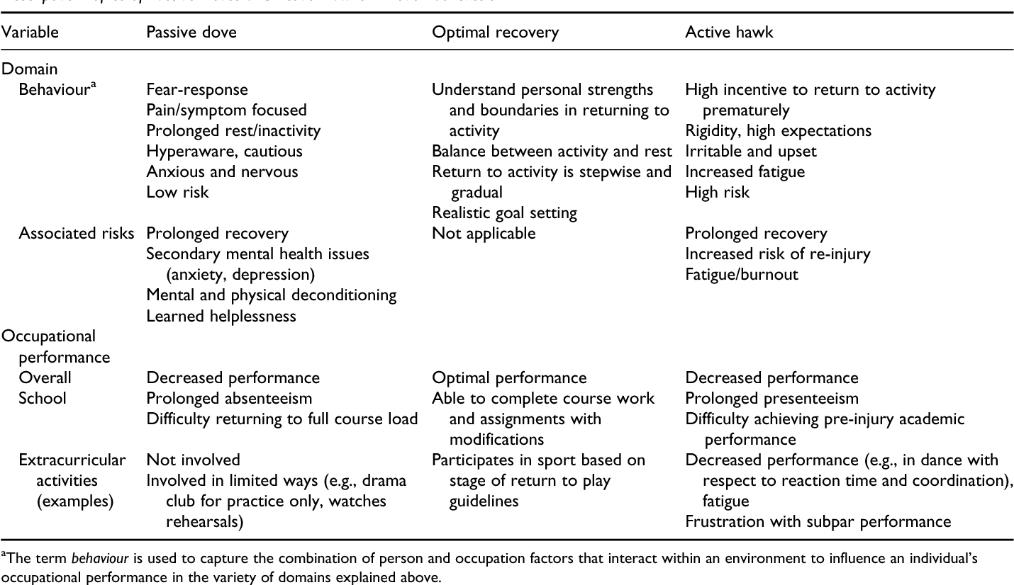 Dove and hawk profiles in youth concussion: Rethinking