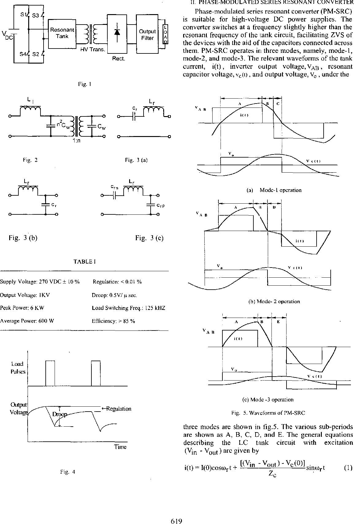 High voltage DC power supply topology for pulsed load