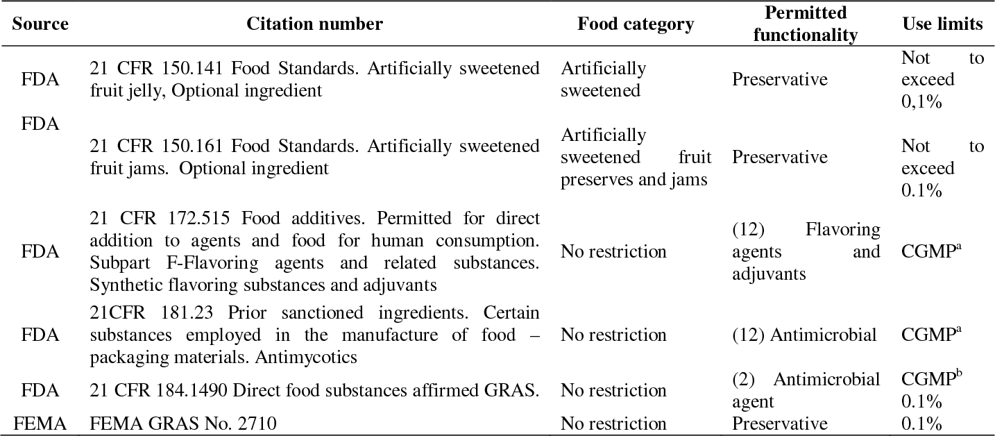 Table 2 from Preservatives in Food Products - Review