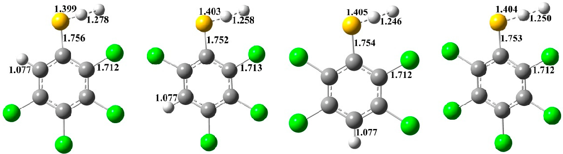 Figure 2. MPWB1K/6-31+G(d,p) optimized geometries for the transition states of the thiophenoxyl-hydrogen abstraction from CTPs by H. Distances are in angstroms. Gray sphere, C; White sphere, H; Yellow sphere, S; Green sphere, Cl. (For interpretation of the references to color in this figure legend, the reader is referred to the web version of this article.