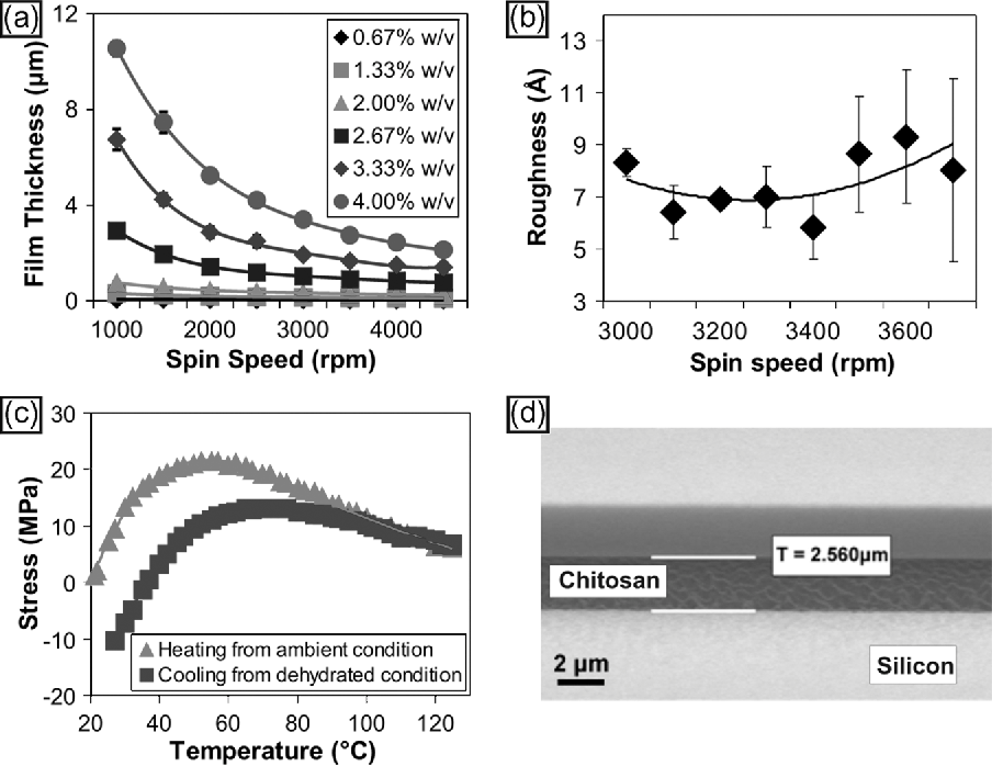 Fig. 2. Characterization of the chitosan thin films. (a) Chitosan spin curves for chitosan concentrations varying between 1 g (0.66% w/v) and 6 g (4.0% w/v) dissolved(n = 6). (b) Surface roughness (Ra-center-line roughness) of 3-g (2.0%-w/v) chitosan films between spun using spin speeds between 3000 and 4000 r/min(n = 3). (c) Stress-temperature curve for 6-g (4.0%-w/v) chitosan film (T = 3.4 µm), where tensile stress is positive. (d) SEM image of a cross section of a 2.56-µm chitosan film on silicon with a native oxide taken with sample at 80◦ tilt.