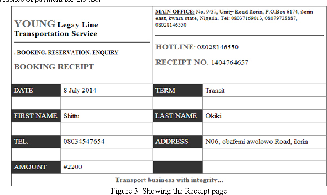 Development Of An Online Bus Ticket Reservation System For A Transportation Service In Nigeria Semantic Scholar