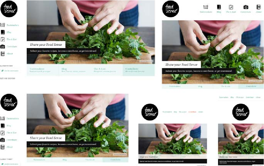 Figure 4. Five examples of the Food Sense website in different sizes demonstrate how a responsive image adapts to the space available using masking and centring [41].