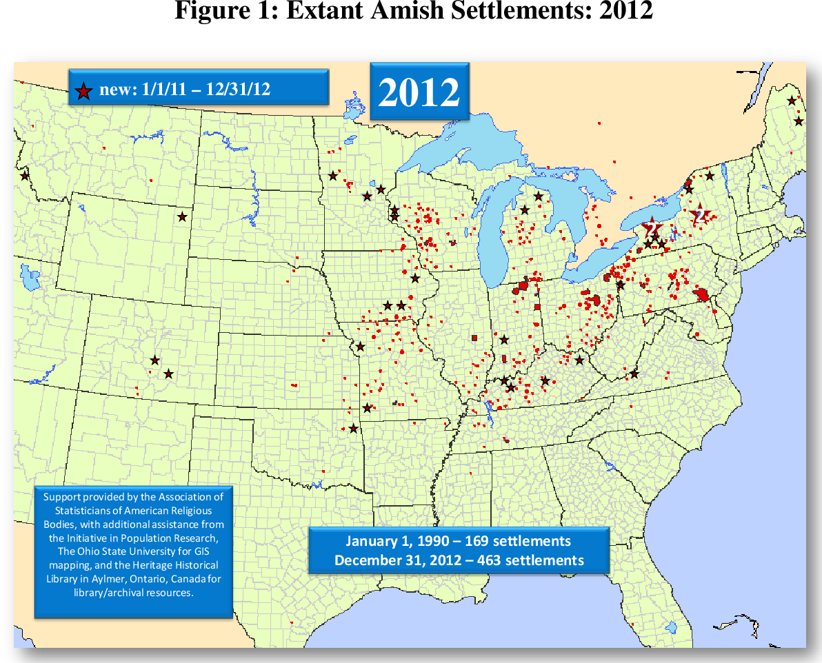 amish communities in kentucky map Pdf The Amish Population County Estimates And Settlement amish communities in kentucky map