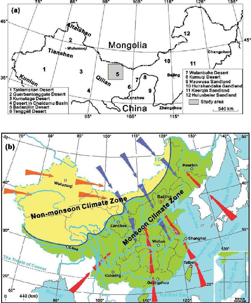 Climate Zone Map Of Asia.Figure 1 From Climate Driven Landformof The Ejina Basin Nw China