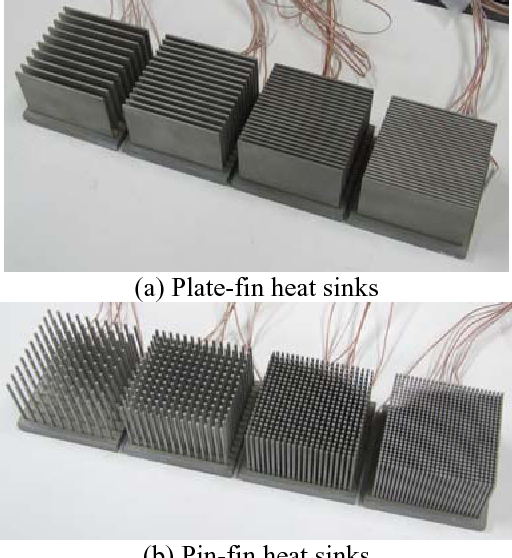 Comparison of thermal performances of plate-fin and pin-fin