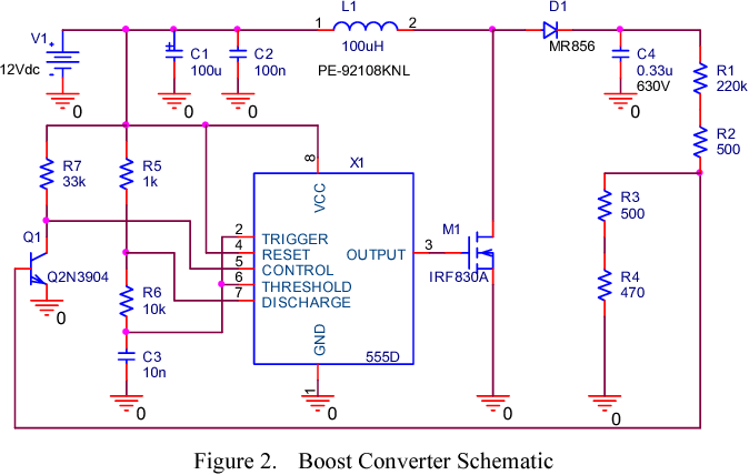 Simple boost converter using Timer IC 555 for charging
