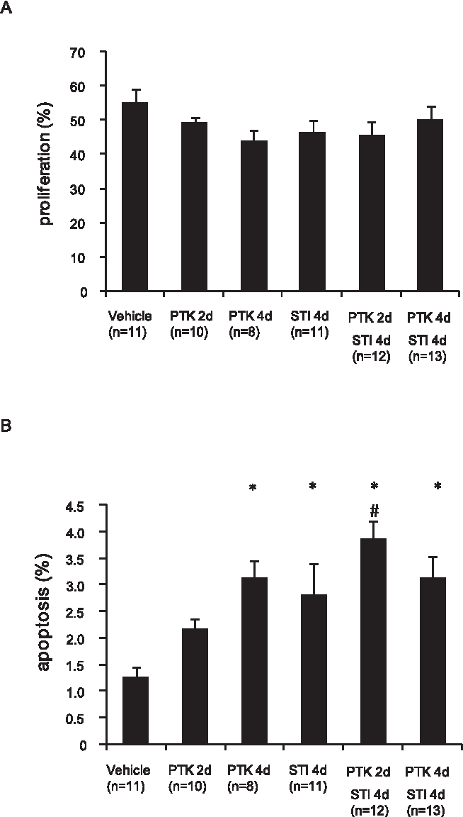 Figure 4. Effect of PDGF and VEGF receptor kinase inhibitors on KAT-4 tumor cell proliferation and apoptosis. Sections of KAT4 tumors from mice treated with vehicle, STI571 or PTK/ZK, alone or in combinations, were stained for Ki67 (panel A) and cleaved caspase-3 (panel B) to monitor proliferation and apoptosis, respectively. Data are presented as means +/2 SEM. Statistically significant differences (p,0.05) compared to control (vehicle treatment;*), and compared to PTK/ZK 2 days (#), are indicated. doi:10.1371/journal.pone.0008149.g004