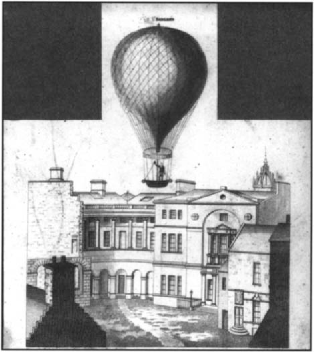 Figure 5 This engraving illustrates an ascent by iame Sadler in his hydrogen balloon from the University in 1815. an eventcreating much local interest, The north-Wl'St corner fronting the recently built anatomy department is well outlined, but gioe no indication of the tunnelling built underneath to provide unobserved passage for bodiee (Crown Copyright RHACMS)