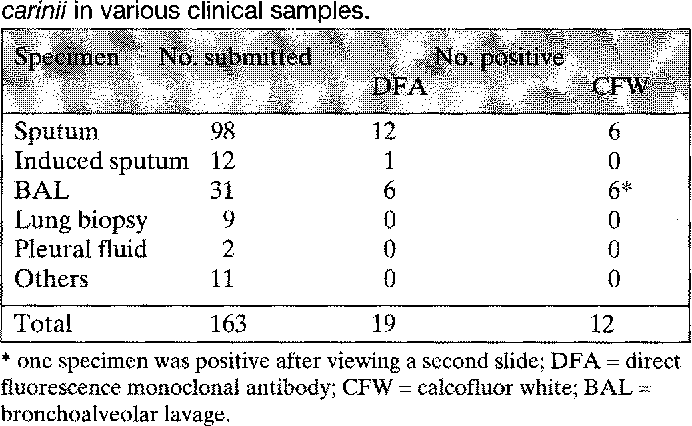 Table 1 from Detection ofPneumocystis carinii with direct
