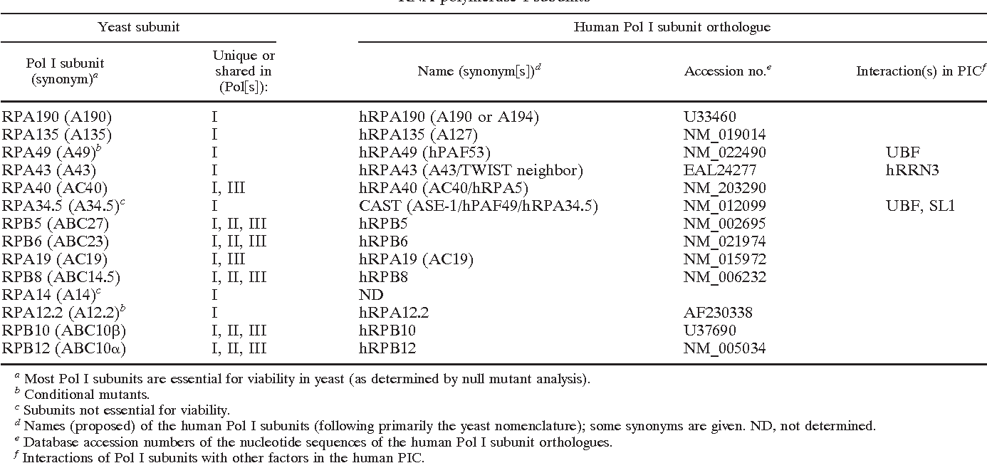 Table 1 From Rna Polymerase I Specific Subunit Cast Hpaf49