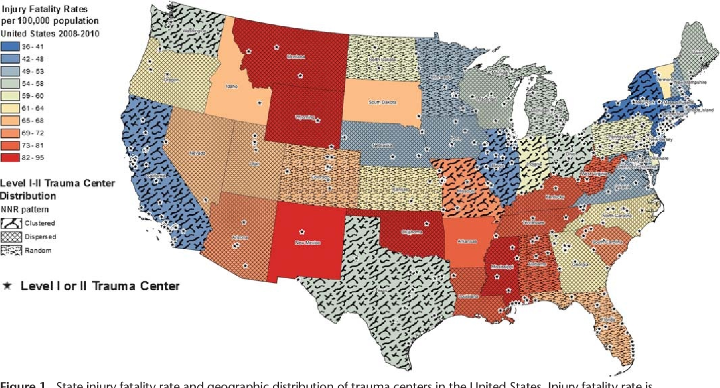 PDF] Geographic distribution of trauma centers and injury ... on us physical therapy map, us pokemon map, us fallout map,