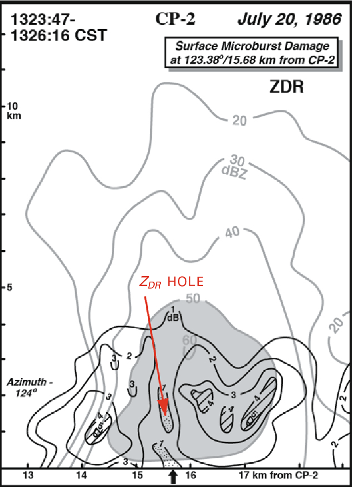 Figure 3.26. ZDR hole in a microburst in Alabama as depicted by data from the NCAR CP-2 Doppler radar (at S-band) during MIST (Microburst and Severe Thunderstorm Project). The radar reflectivity factor is given by thin lines and labeled in dBZ; differential reflectivity ZDR is given by thick lines and labeled in dB. The location of damage is indicated by the arrow at the surface (from Wakimoto and Bringi, 1988).