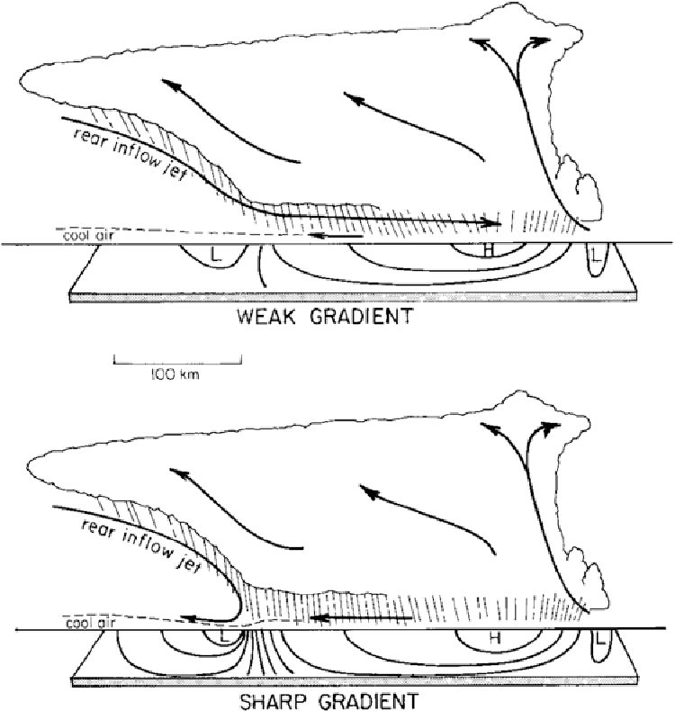 Figure 5.15. Idealized depiction of (top) weak and (bottom) strong surface horizontal pressure gradients in association with rear-inflow jets that continue forward toward the leading convective line or are blocked, respectively (from Johnson, 2001).