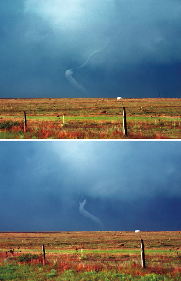 Figure 6.2c. As Figure 6.2b, but near Canadian, TX, May 7, 1986, dissipating stage, condensation aloft separating from condensation just above the ground (top); as in previous image, but slightly later when condensation funnel aloft has completely disappeared (bottom) (photographs by the author).