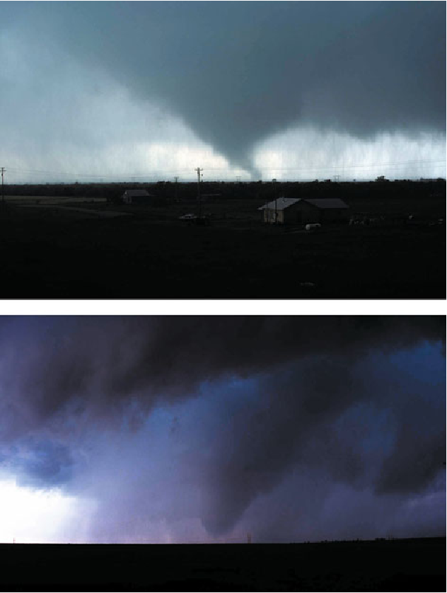 Figure 6.4. Tornadoes surrounded by precipitation and partially obscured, when viewed looking to the south or southwest. (Top) May 14, 1986, near Snyder, OK; (bottom) June 13, 2010, in the eastern Oklahoma Panhandle (photographs by the author).