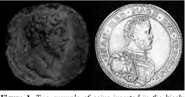 Figure 1. Two example of coins inserted in the kiosk: (Left) a Roman bronze coin; (Right) a modern gold coin.