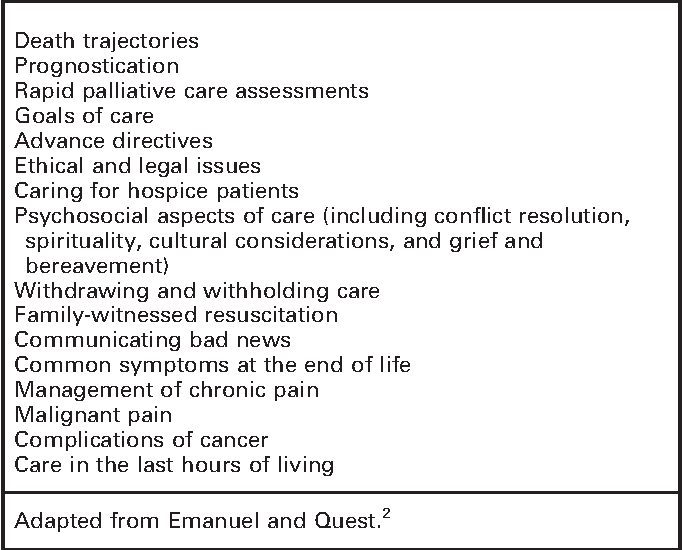 A case for education in palliative and end-of-life care in