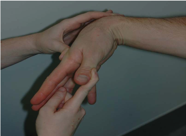 Wrist Hyperflexion Thumb Abduction test