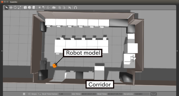 Simulation environment for mobile robots testing using ROS