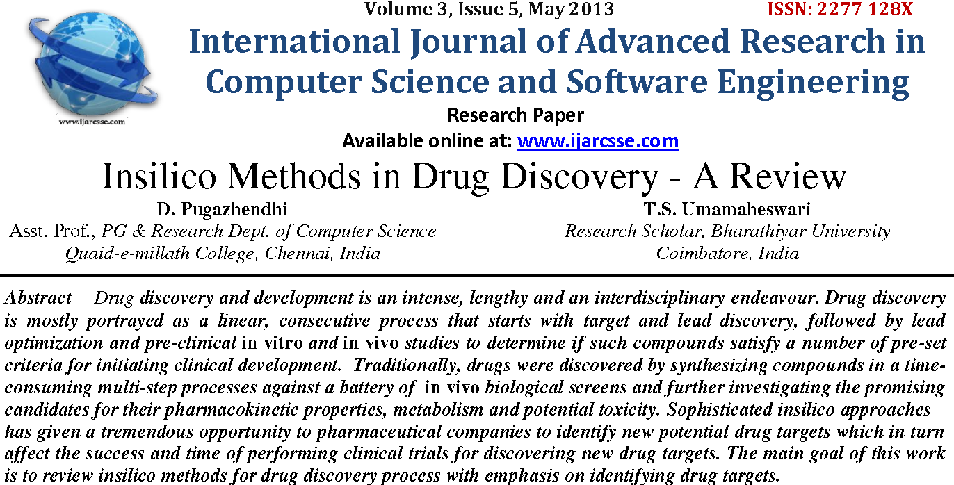 Insilico Methods In Drug Discovery A Review Semantic Scholar