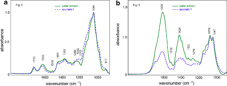 Fig. 7 a N2-spumate 1 of MAS compared to the water extract; spectra normalized at 1046  cm−1. b CO2-spumate 1 of PEQ compared to the water extract; spectra normalized at 1047 cm−1