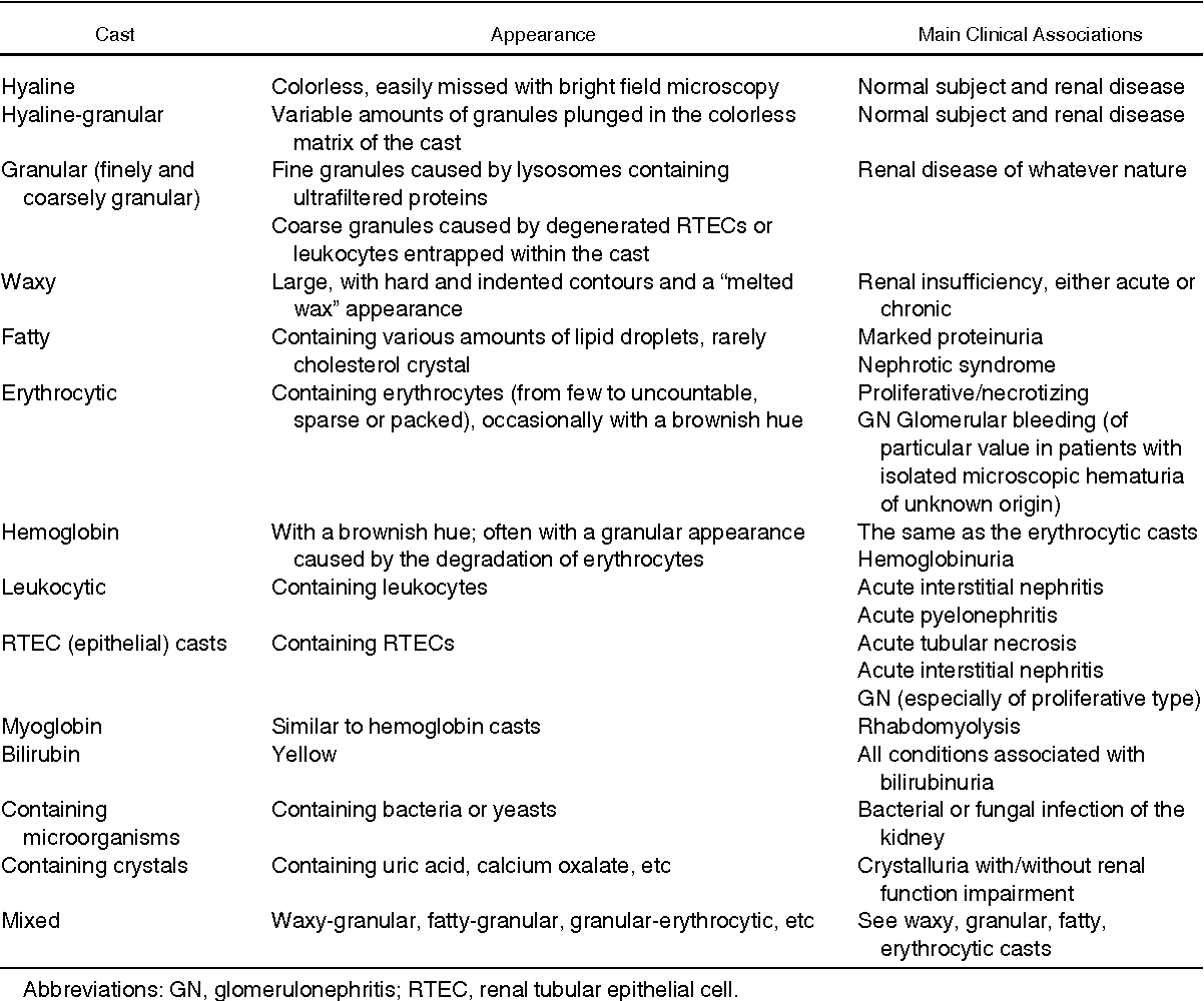 Table 6 from Urinalysis: core curriculum 2008  - Semantic