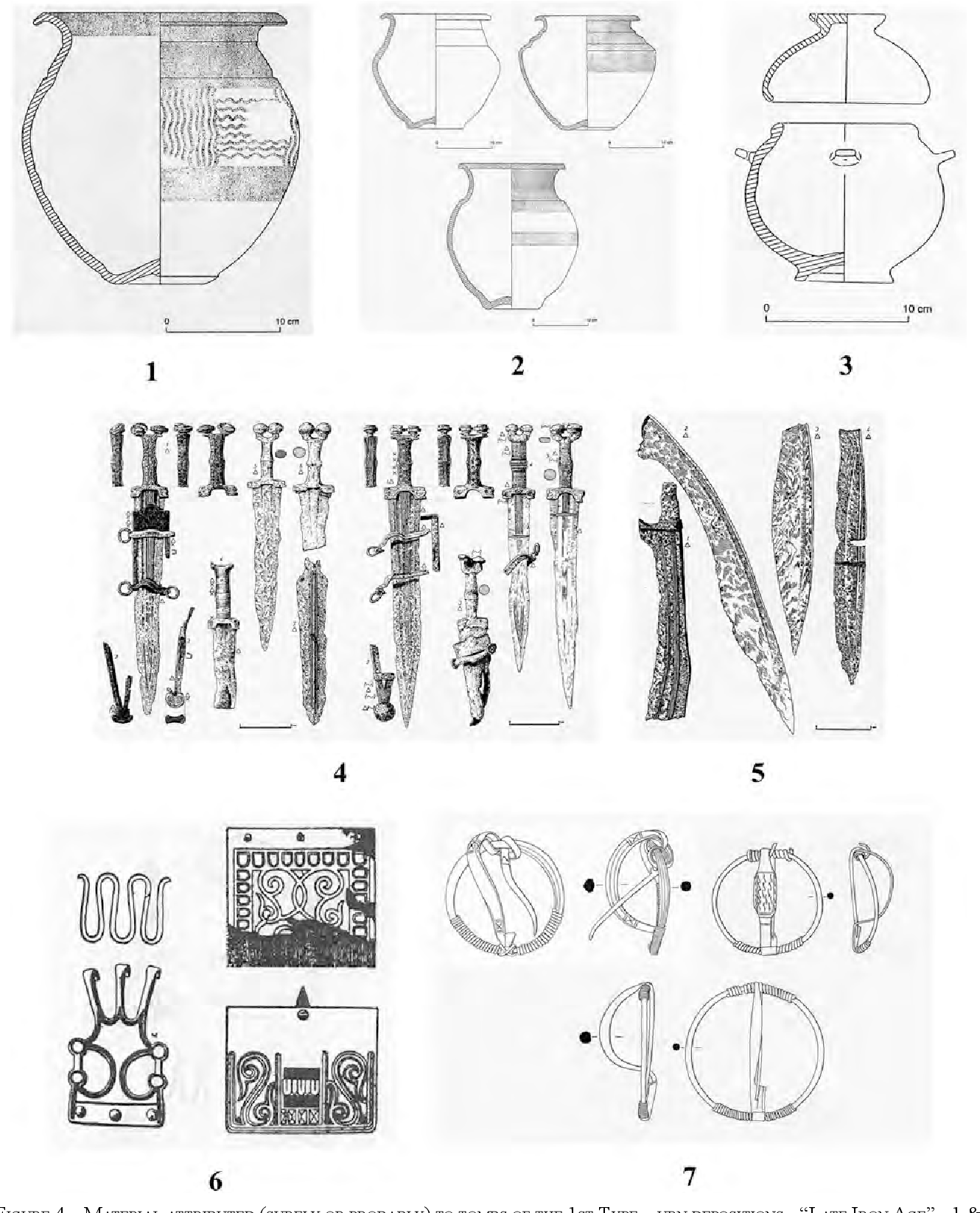 Figure 4 material attributed (surely or probably) to tombs oF tHe 1st type urn depositions - late iron age - 1 & 2 bi-conic urns (aFter Frankenstein, 1997); 3 eared urn (idem); 4 antennae swords and daggers (aFter scHule, 1969, adapted in arruda, 1999-2000); 5 Falcatae (idem); 6 late belt clasps (oF tHe late celtic and iberian types) (aFter almeida & Ferreira, 1962); late Hispanic annular Fibulae (aFter ponte, 1985).