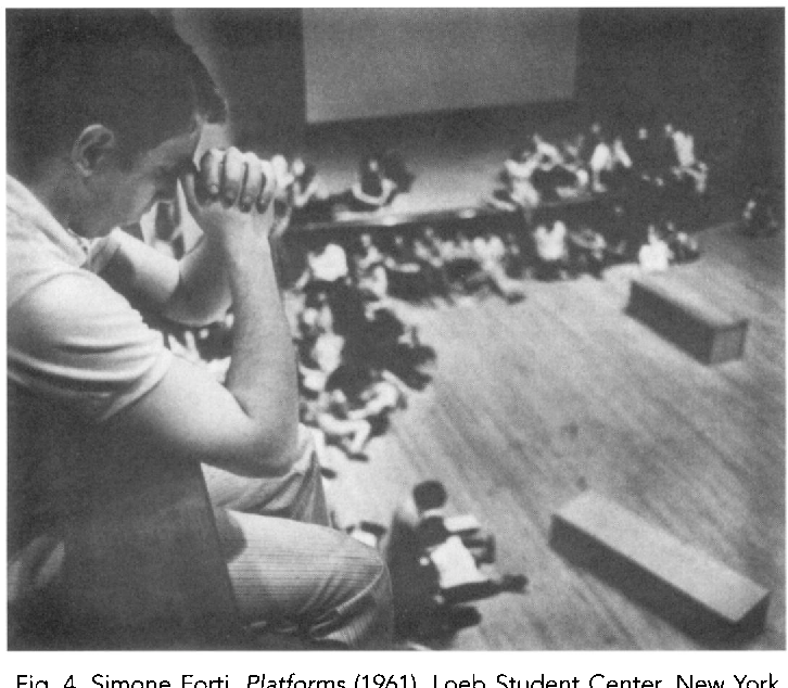 Fig. 4. Simone Forti, Platforms (1961), Loeb Student Center, New York University. Photo: Peter Moore Estate of Peter Moore/ VAGA, NYC.