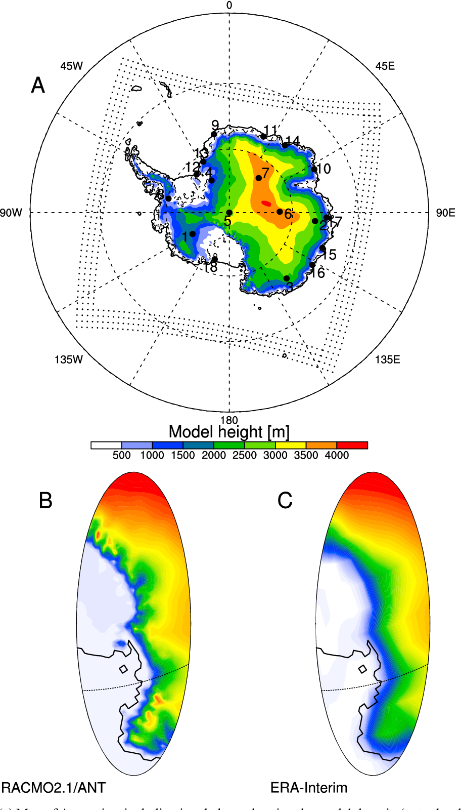 Figure 1 from Modeling drifting snow in Antarctica with a ... on green antarctica map, scott antarctica map, graham antarctica map,
