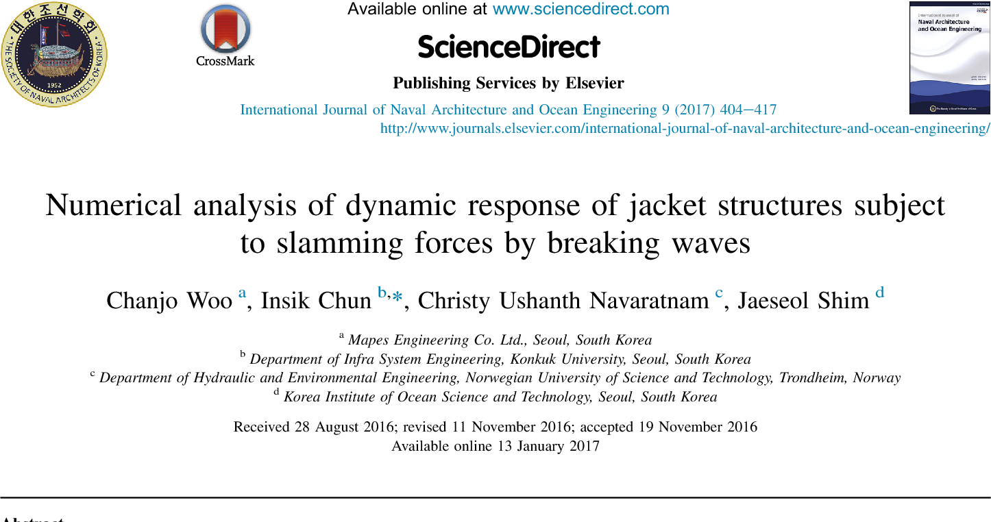 Numerical analysis of dynamic response of jacket structures