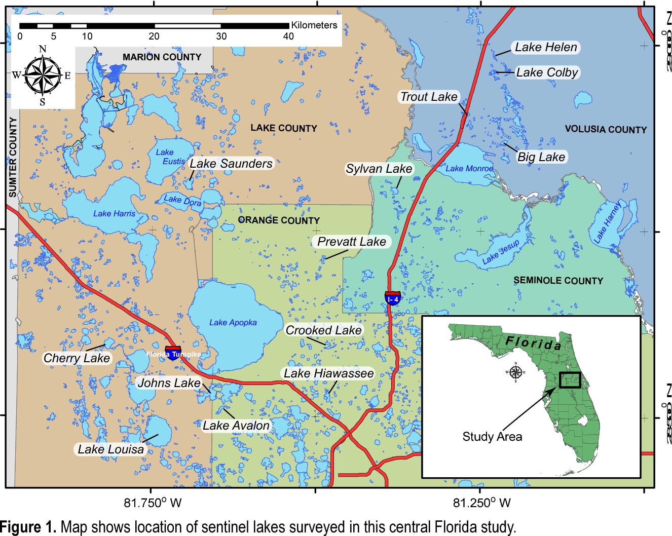 orange lake florida map Figure 1 From Geophysical Investigation Of Sentinel Lakes In Lake orange lake florida map