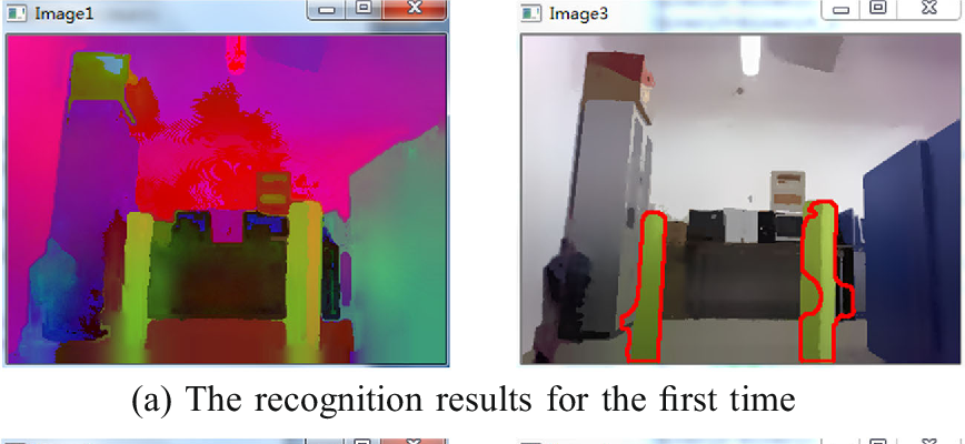 Fig. 10 The recognition process of NAO robot in walking (two landmarks)