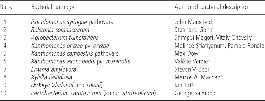 Table 1 from Top 10 plant pathogenic bacteria in molecular