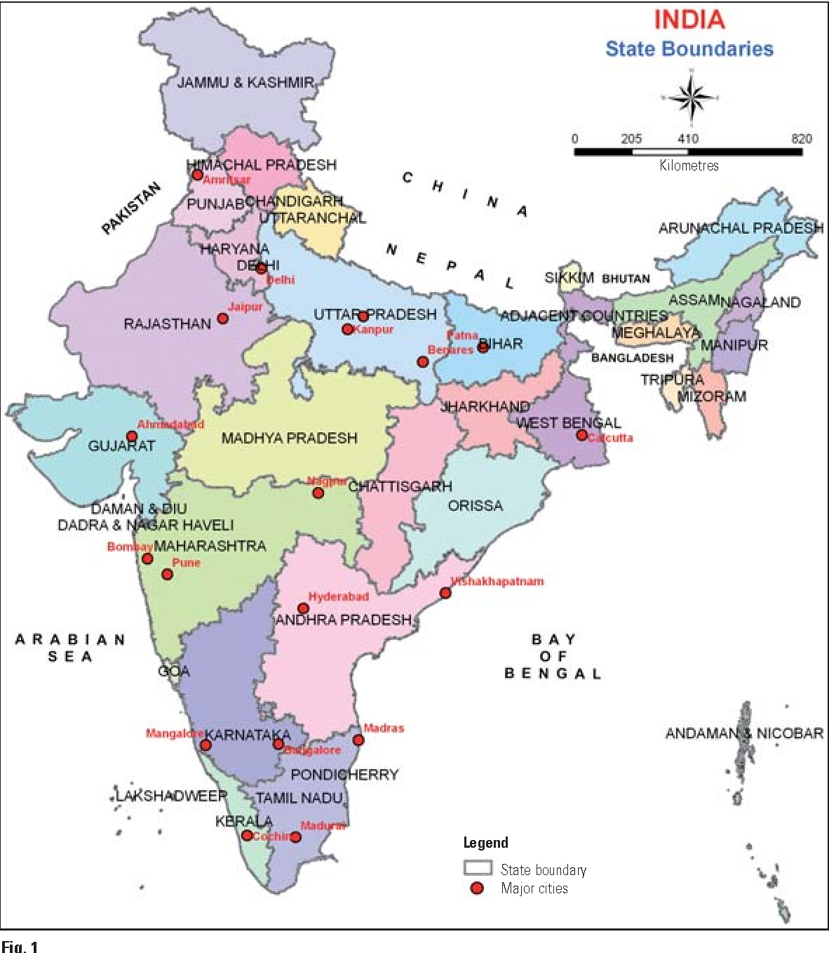India Map With State Climets on