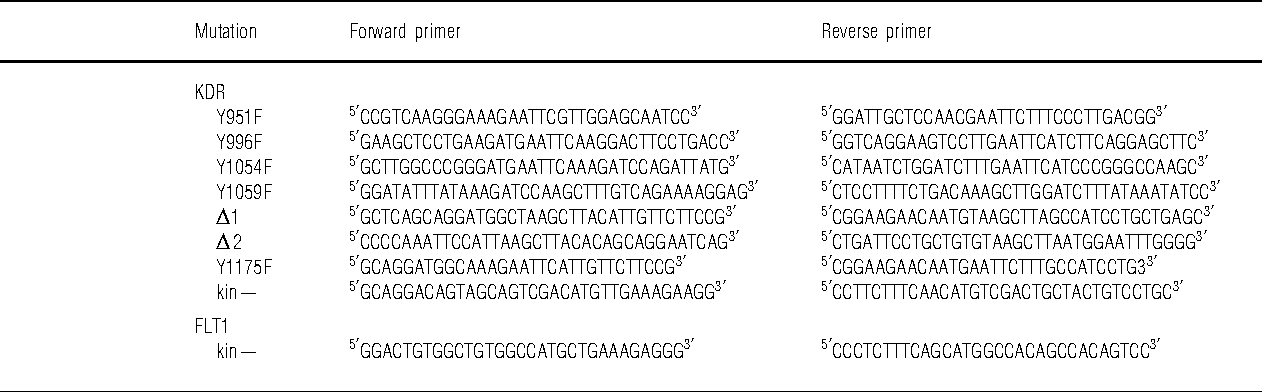 Table 1 Mutagenesis primers