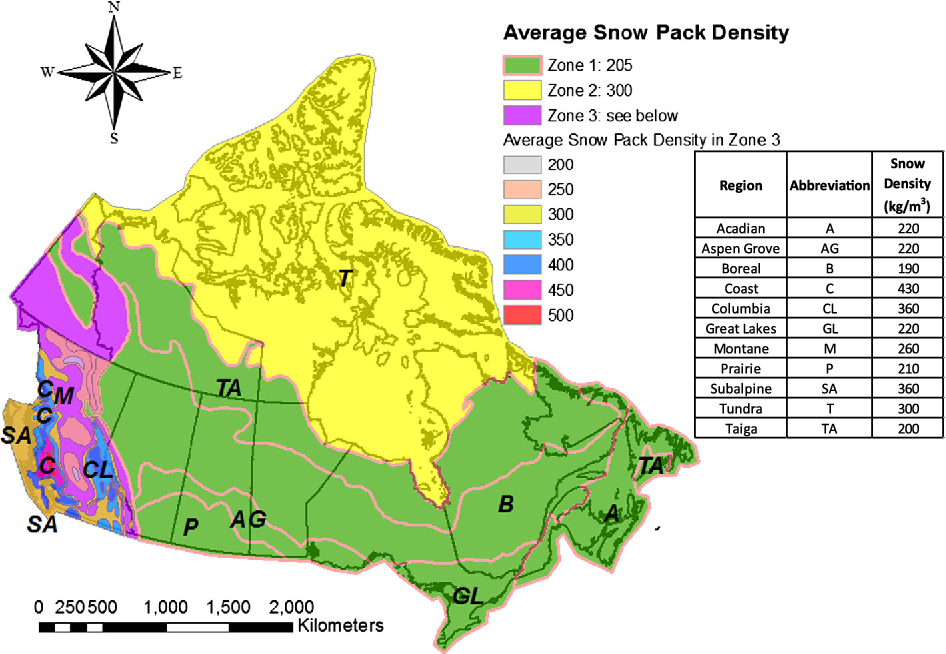 Snow Depth Map Ontario Canada Analysis of extreme ground snow loads for Canada using snow depth