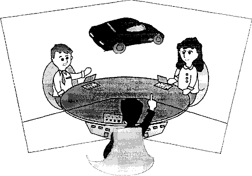 Fig. 2. A Virtual Space Teleconferencing System. Users of the system interact in a virtual work space from different locations.