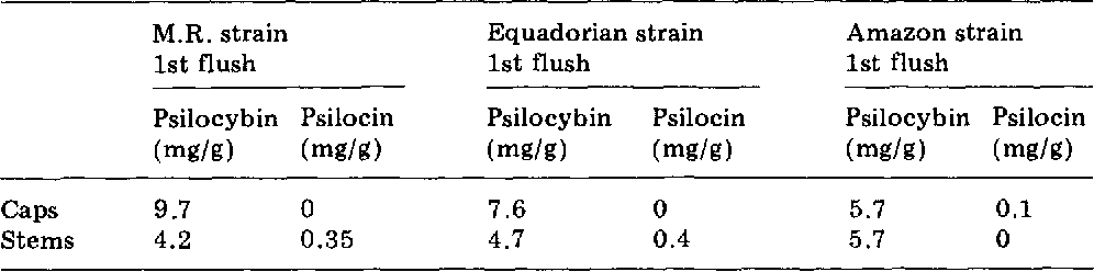 Variation of psilocybin and psilocin levels with repeated