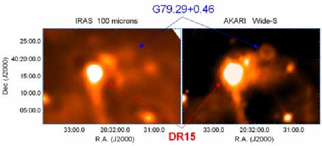 Figure 3. DR15 HII region and G79.29+0.46, a ring like-radio source in the Cygnus X star forming region.