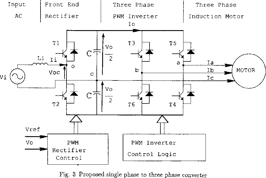 Figure 3 from A new single phase to three phase converter