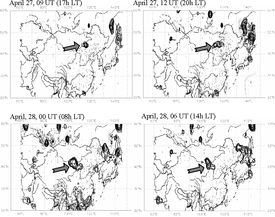 Fig. 6a. Changes of relative visibilities interpolated in Asia for 27 April and 28 April 2005. Thick lines: decreasing of more than 50%; Thin lines: rainfall (arbitrary units); Thin doted lines: RH>80% (a.u.); vectors: wind (a.u.); large arrows locate the main area of interest.