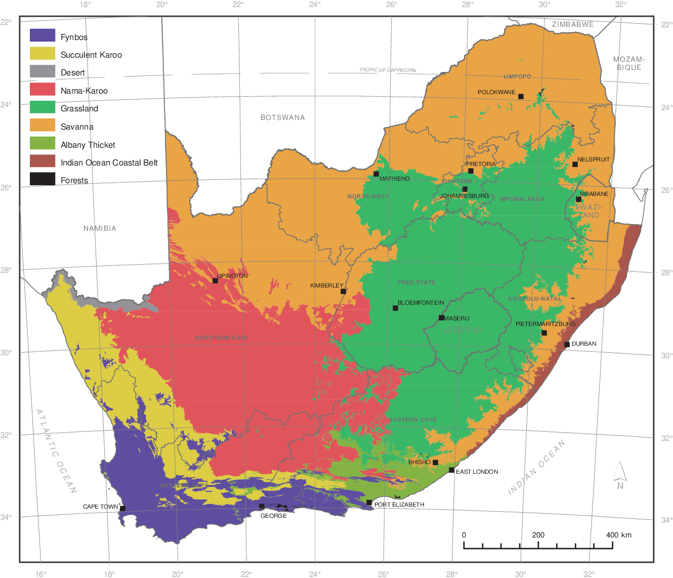 Map Of South Africa And Lesotho.Vegetation Field Atlas Of Continental South Africa Lesotho And
