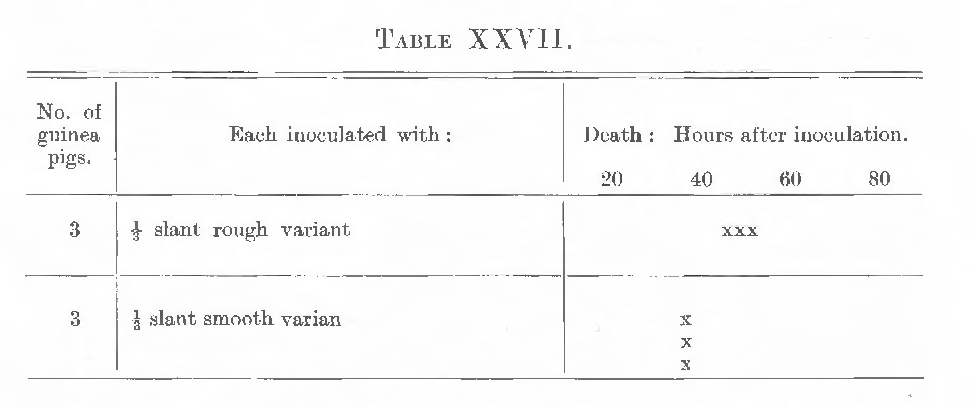 table XXVIII