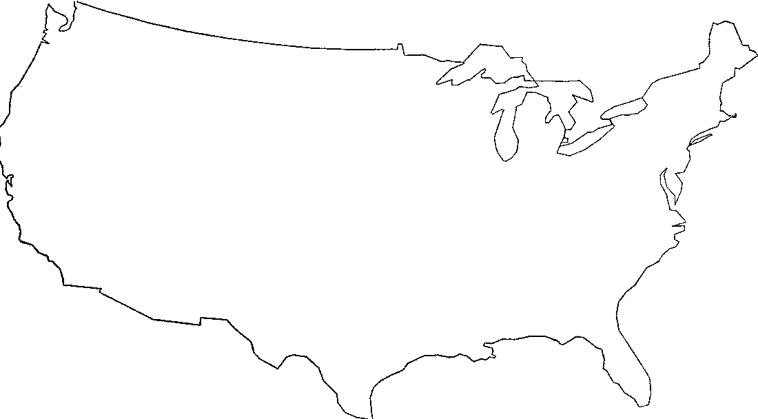 FIG. 7-Map of the United States drawn directly by machine from a deck of 343 punched cards. Plotting time, approximately 15 minutes. The map has been reduced, but not retouched. Bipolar oblique conic conformal projection (outline of original map from the American Geographical Society's Map of the Americas, 1:5,000,000). (Plotter courtesy the Benson-Lehner Corporation, Los Angeles.)