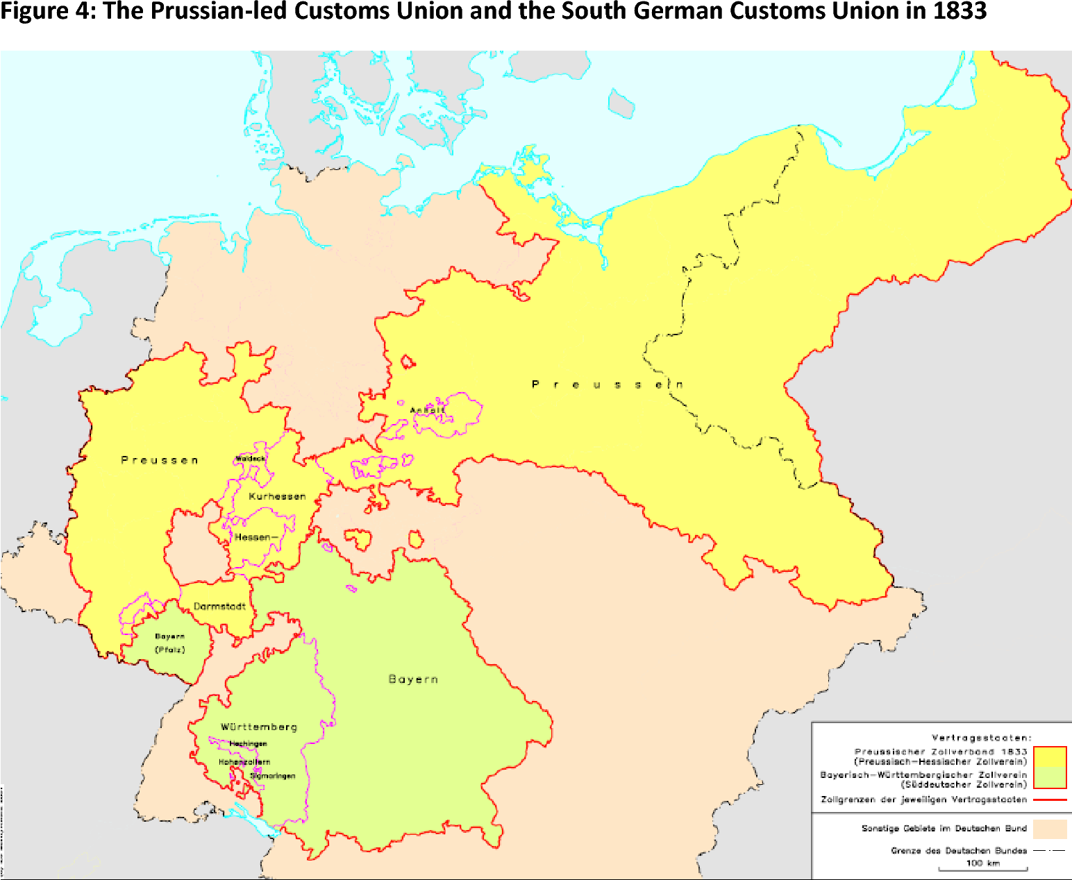 Map Of Zollverein Germany.Figure 4 From The Trade Impact Of The Zollverein Semantic Scholar