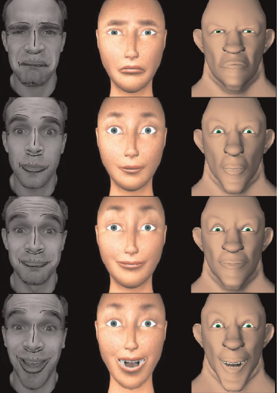 Animation Retargeting facial animation retargeting and control based on a human