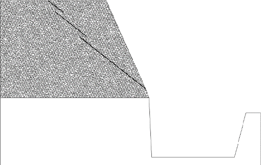 Fig. 8: Rock slope with pre-existing non-persistent rock joints with Voronoi joints.